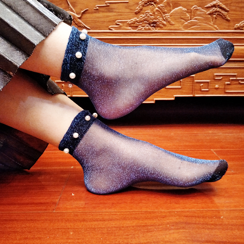 Fashion Lady Girl Women Sexy Lace Fishnet Mesh Ankle High Socks 2018 cheap Transparent pearl socks