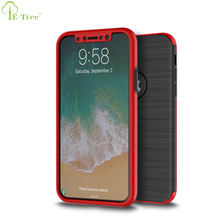 2 IN 1 Design Brush TPU Combo PC Frame 360 Full Cover Phone Case For iPhone X With Glass Screen Protector