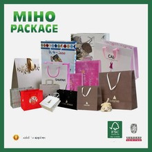 Factory Different paper shopping bag with ribbon handle