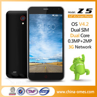 "New Arrival Model Z5 Hot Sale 5"" 5inch MTK6572 Dual Core Android 4.2 Cheap 5 inch android cell phone"