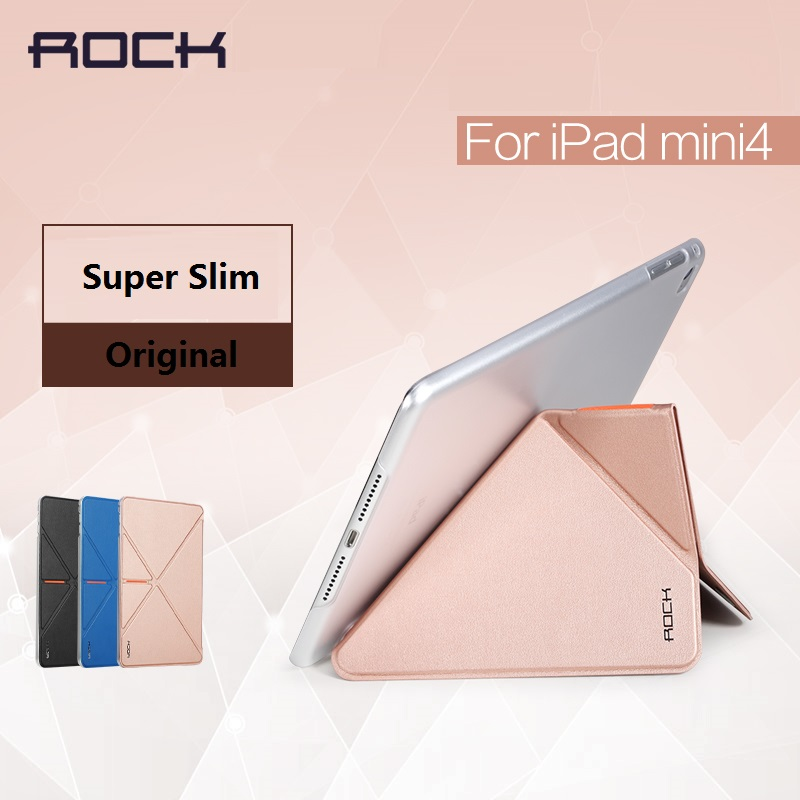 Original rock leather case smart cover case for ipad mini 4 case