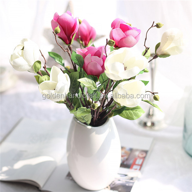 Hot sale real touch colorful artificial silk magnolia flower