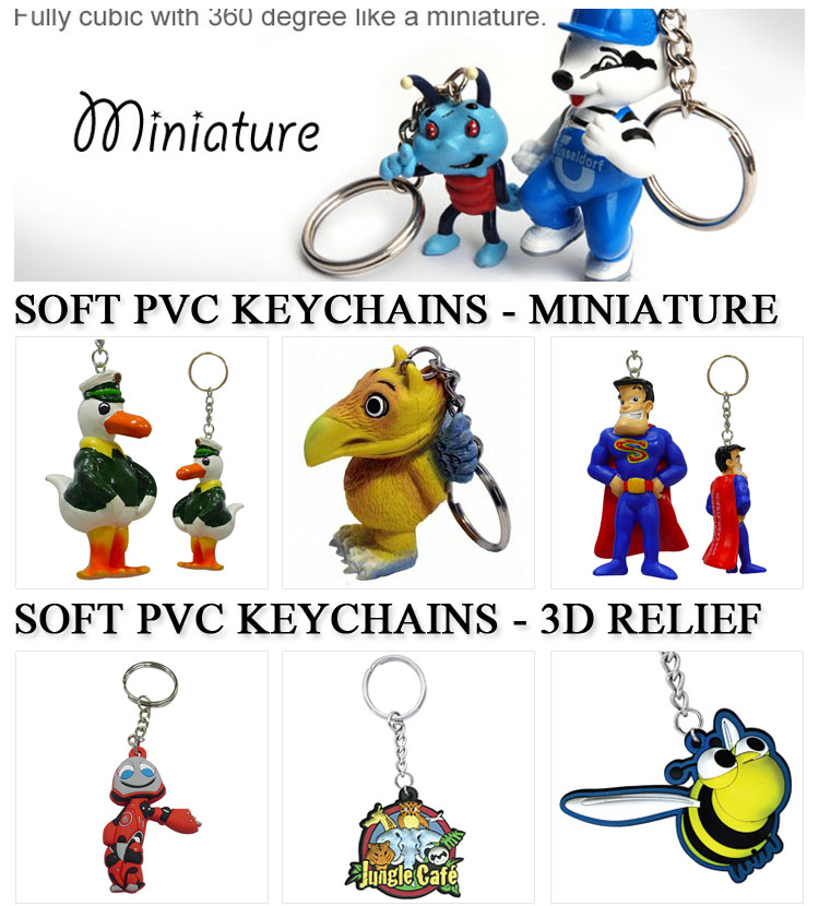 manufacturer cheap 2D custom shaped soft pvc rubber key chain