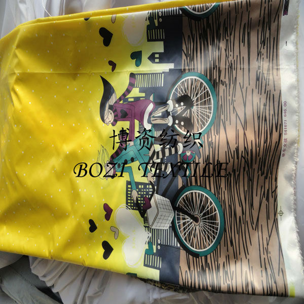 printed cycling girls characters pongee fabric