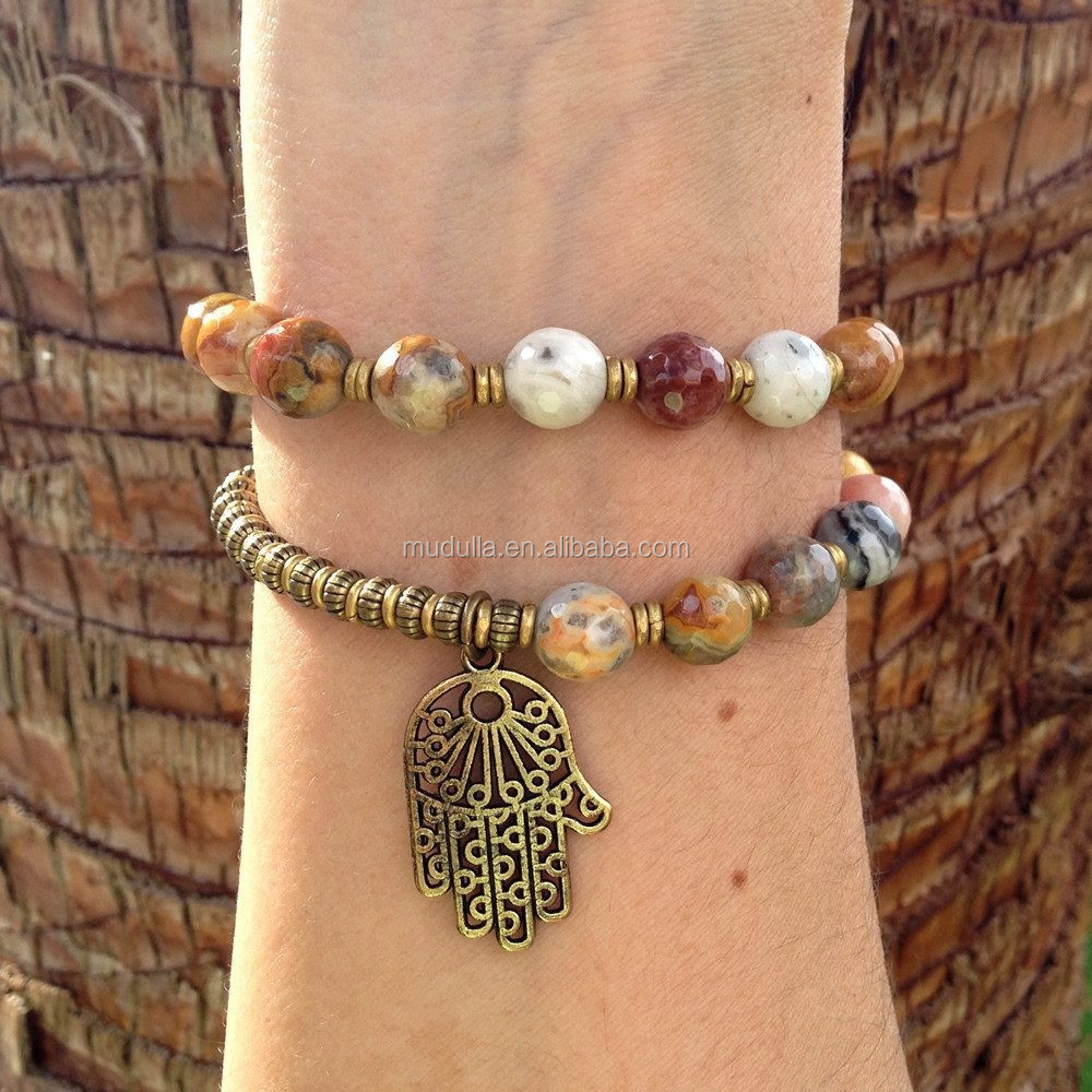 B15120519 Wholesale Crazy Lace Agate 27 Bead Double Strand Bracelet With Hamsa Charm
