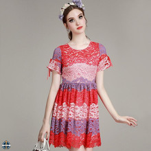 T-D069 2016 Summer New Arrival Casual Trend Lace Contrast Color Women Dress