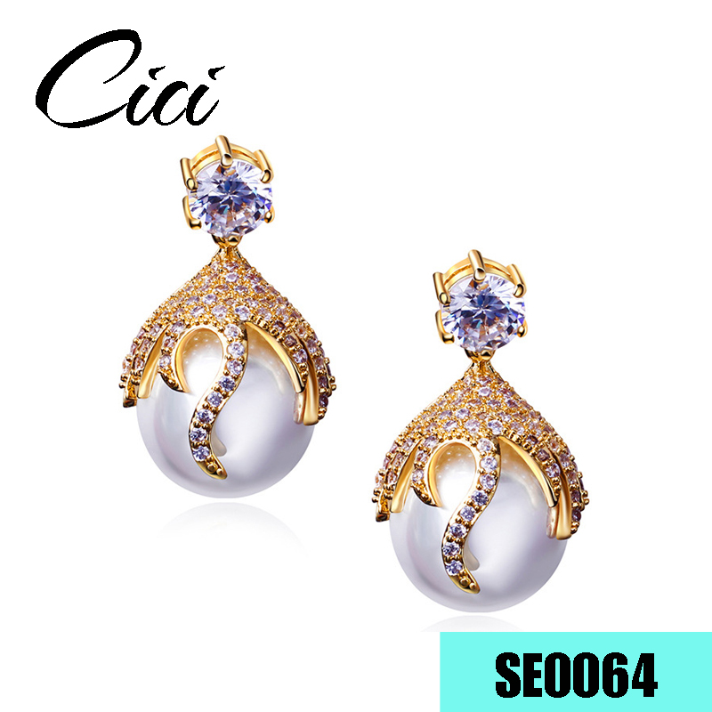 Latest Design Jewelry Gold Earrings Women Brass Micro Pave Cubic Zirconia Fashion Pearl Stud Earrings for women