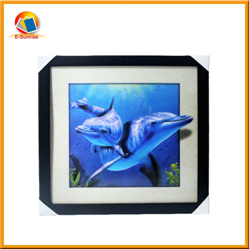 High Definition 3d 5d lenticular dolphin pictures with black PS frame