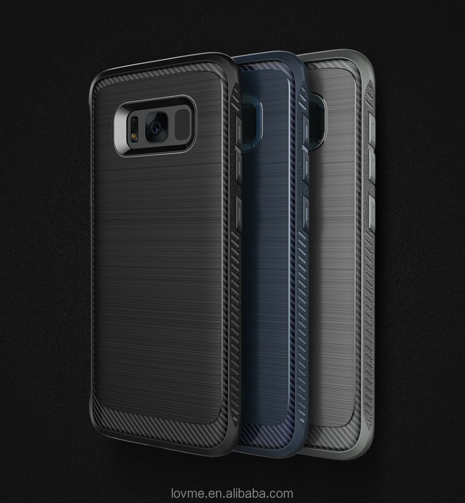 New Design Brush Carbon Fiber Shockproof Protective TPU Phone Case Back Cover For Samsung Galaxy S8