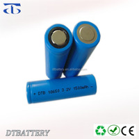 High performance dtb18650 3.2V 1500mAh Lithium battery/LiFePo4 Cell 18650 for Solar Lantern