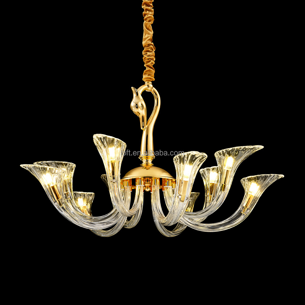 G9 LED European Style Copper Cast Swan <strong>Modern</strong> Hand Made Glass Crystal Chandelier Made in China