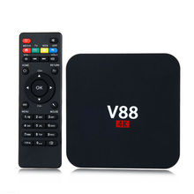 Cheapest Android TV Box V88 Rockchip RK3229 1G 8G 4k Quad core Android 5.1 2.4G WiFi H.265 VP9 4K Smart TV Box Media player V88