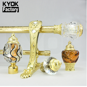 Kyok 2019 Iron Metal Curtain Rod Set With Different Pole Finials Color Glass Curtain Rod Finial Rattan Curtain Rod Finial