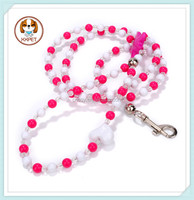 Dog chain leash pink chain leash for dogs with leather handle
