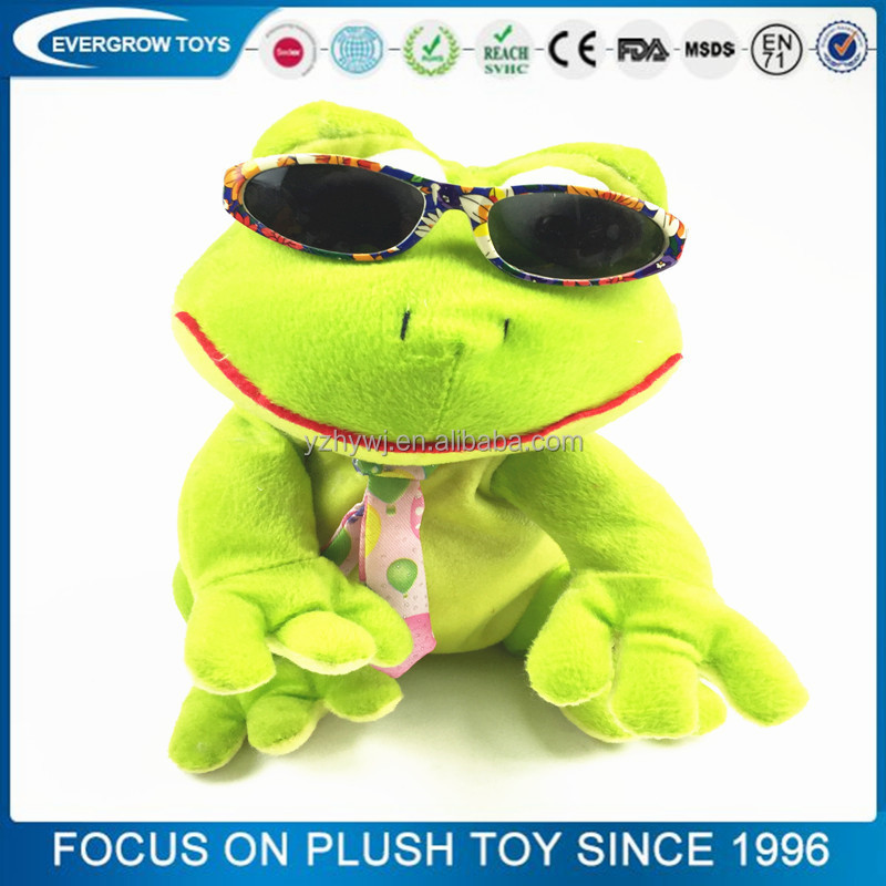 toys for kids for 2016 plush frog with sun glasses happy kid toy