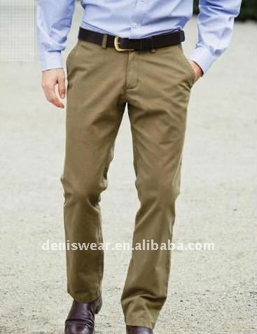 men's cotton drill formal trousers garment dyed