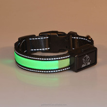 LED Dog Collar - USB Rechargeable - Available in 6 Colors & 3 Sizes- Reflective Adjustable in Green Color