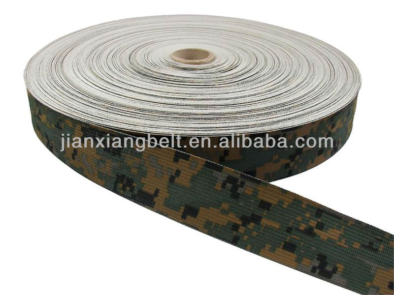 CAMOUFLAGE A-A-55301 MIL-SPEC NYLON WEBBING 1 INCH-WIDE DIGITAL WOODLAND TWO-SIDED By-The-Roll