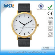 2016 latest fashion gold watch genuine top layer leather top sell product western style watch