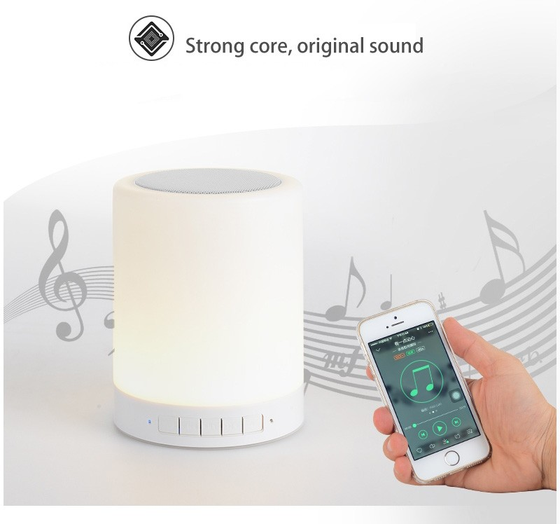 Night Light Portable Wireless Bluetooth Speaker with Touch Control Color LED