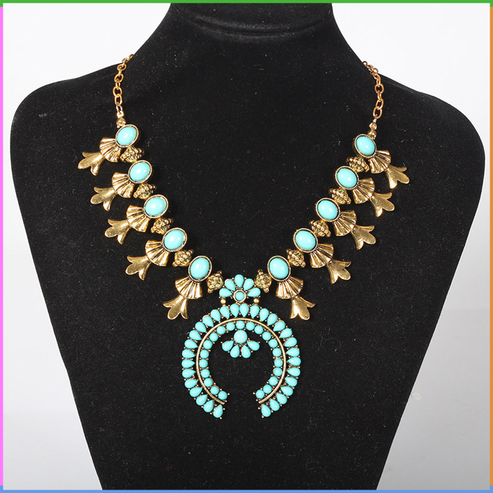 Turquoise Beaded Antique Gold and Silver Choker Collar Bib Necklace Yiwu