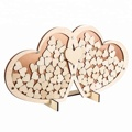 wood  heart shape wedding guest book custom
