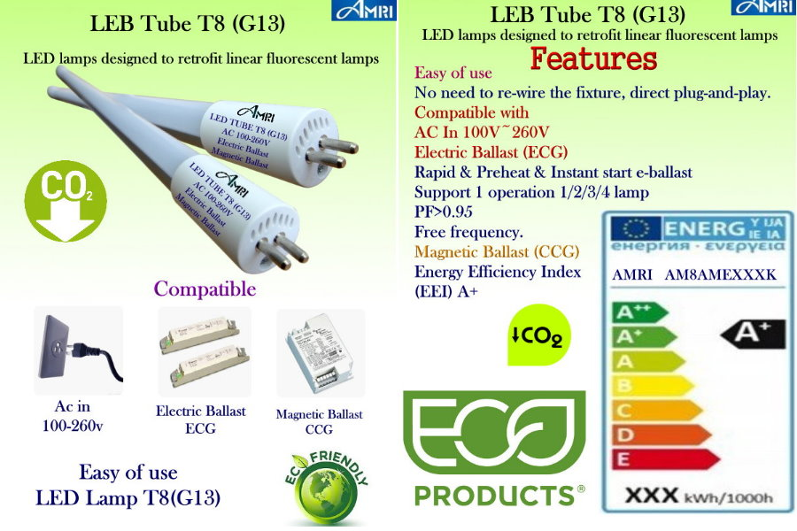 T8(G13) Led Tube Light ; T8 led Lamp ECO Products;LED lamps designed to retrofit linear fluorescent lamps