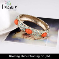 Orange zinc alloy multicolor crystal bohemian bracelet for women 2015 new vintage style bracelets bangles BL04239
