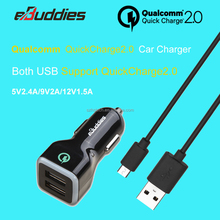 Quick Charge 2.0 36W Dual USB Car Charger Adapter(5V/2.4A+Quick Charge 12V/1.5A 9V/2A 5V/2A) with free 3.3FT Micro USB cable