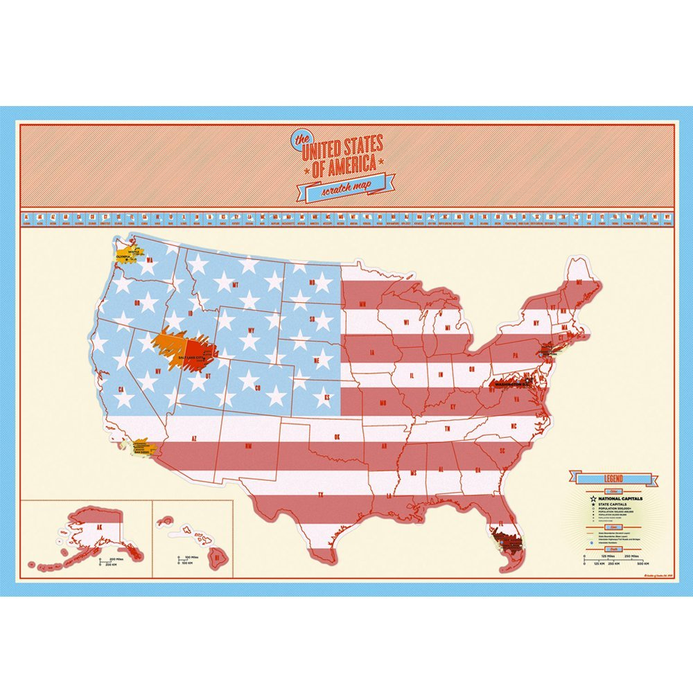 Scratch Off Usa Map Poster,Personalized Map With States And Major ...