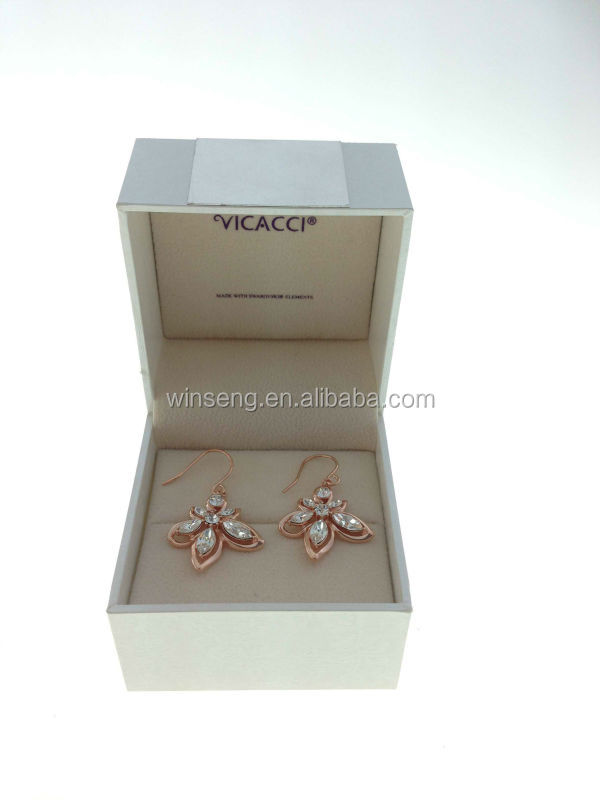 New Fashion 925 Sterling Silver Rose gold plated Bauhinia Flower Earrings with Crystals from SWAROVSKI