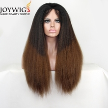High quality ombre color kinky straight hair human hair wig 360 lace frontal wig