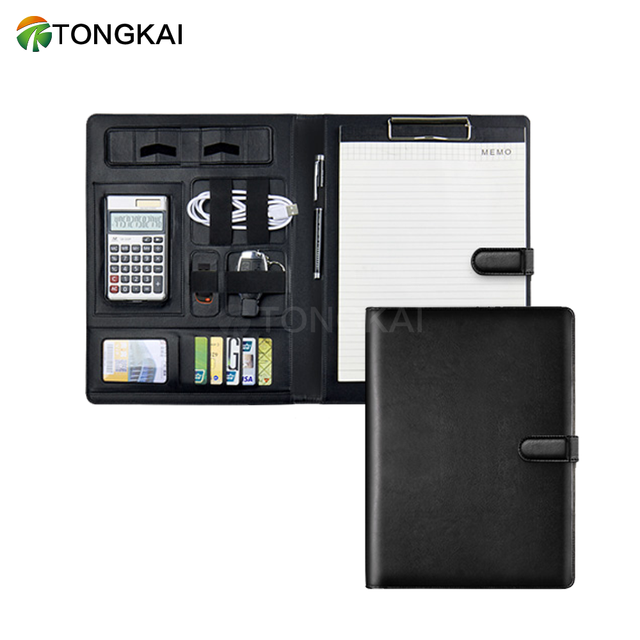 leather business conference file folder A4 padfolio executive padfolio with clipboard and calculator