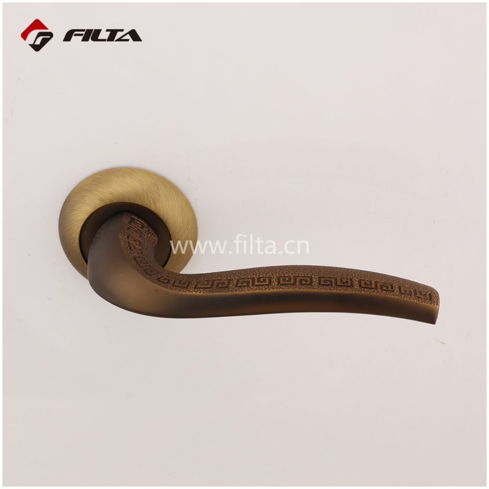 coffee roughened texture door hardware bedroom zinc door lever handle