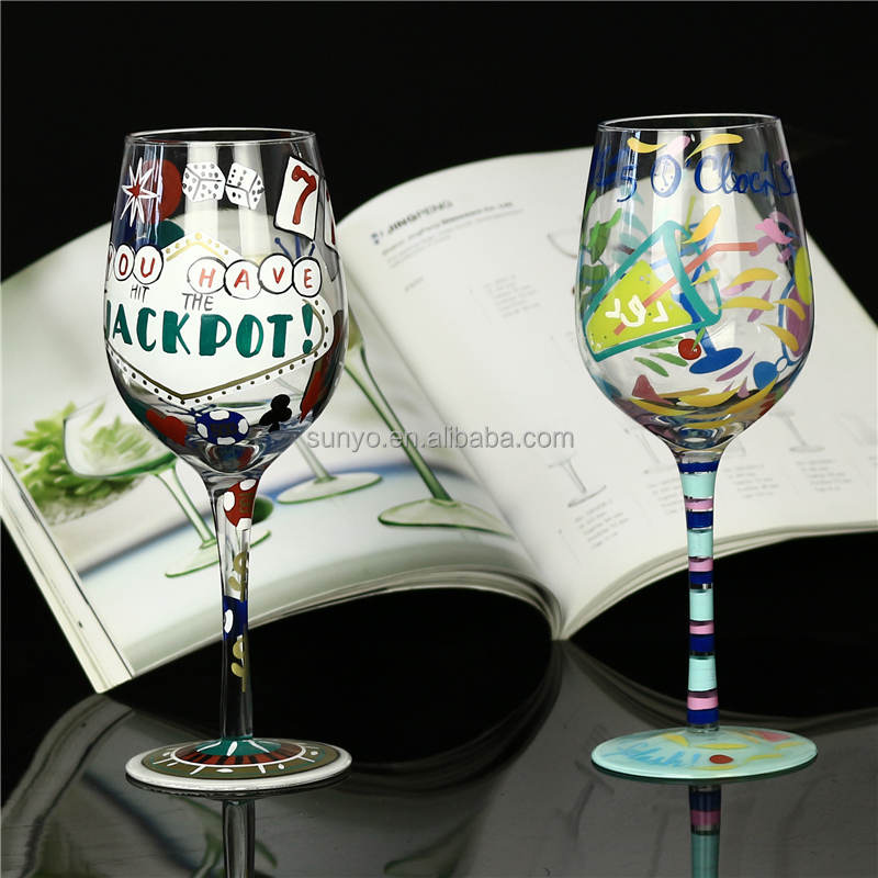 Wholesale latest hot selling, Leadfree crystal customized handpainted red wine glass for birthday party