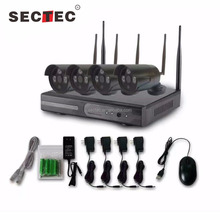 SECTEC plug and play black hidden wifi night vision video surveillance ip wifi camera system NVR recorder kit