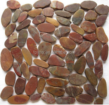 red sliced mesh pebble stone