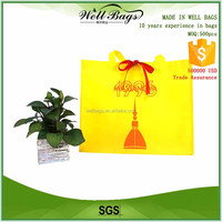 Factory price yellow eco shopping tote bag with red satin ribbons