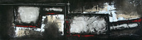 Black and white Abstract Oil Painting in rectangle