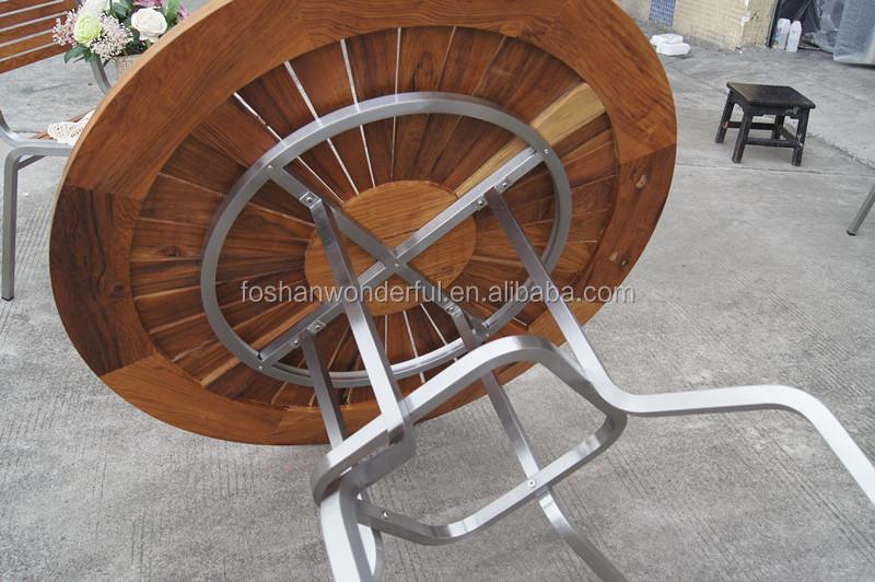 2016 새로운 디자인 티크 테이블 의자 스테인레스 스틸 프레임 ...