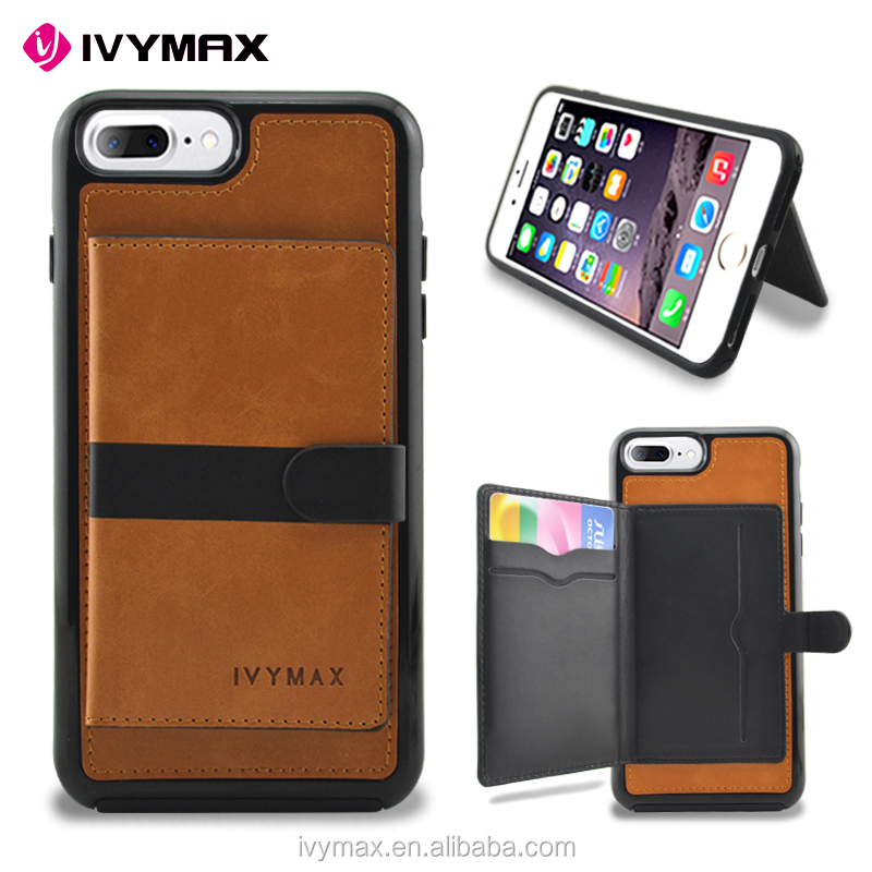 IVYMAX Factory Wholesale Leather Flip Folio Wallet Case with Card Slots For Apple Iphone 7 Plus