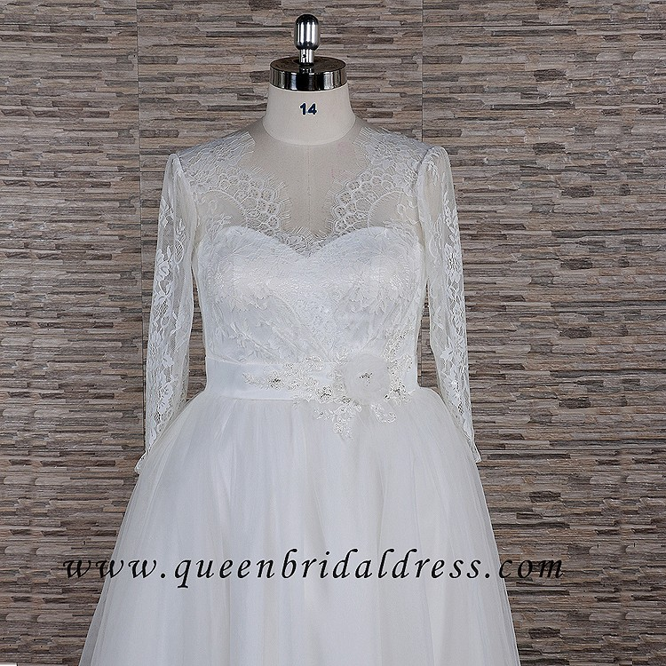 Cheap Illuison Neckline Appliques Lace A-line Wedding Dresses