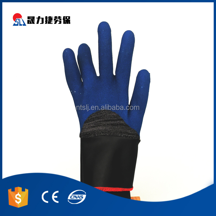 Safe latex coating polyester liner protective work gloves