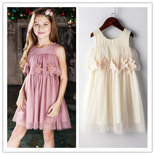 2017 wholesale Summer Girls Lace Dresses Princess Costume Floral Kids Party Dresses for Girls 2-8 years
