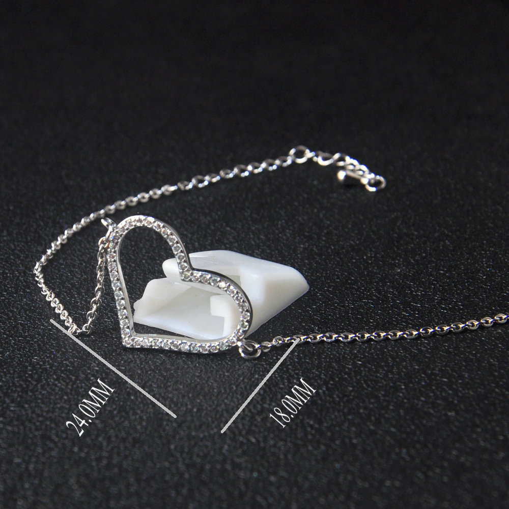 925 sterling silver heart shape promise bracelet jewelry for ladies