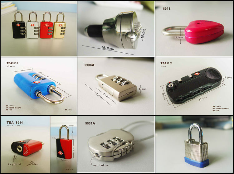 Wholesale 3 password TSA zipper luggage lock 9121A