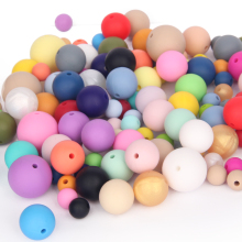 BPA free baby chew 19mm food grade silicone loose large round beads
