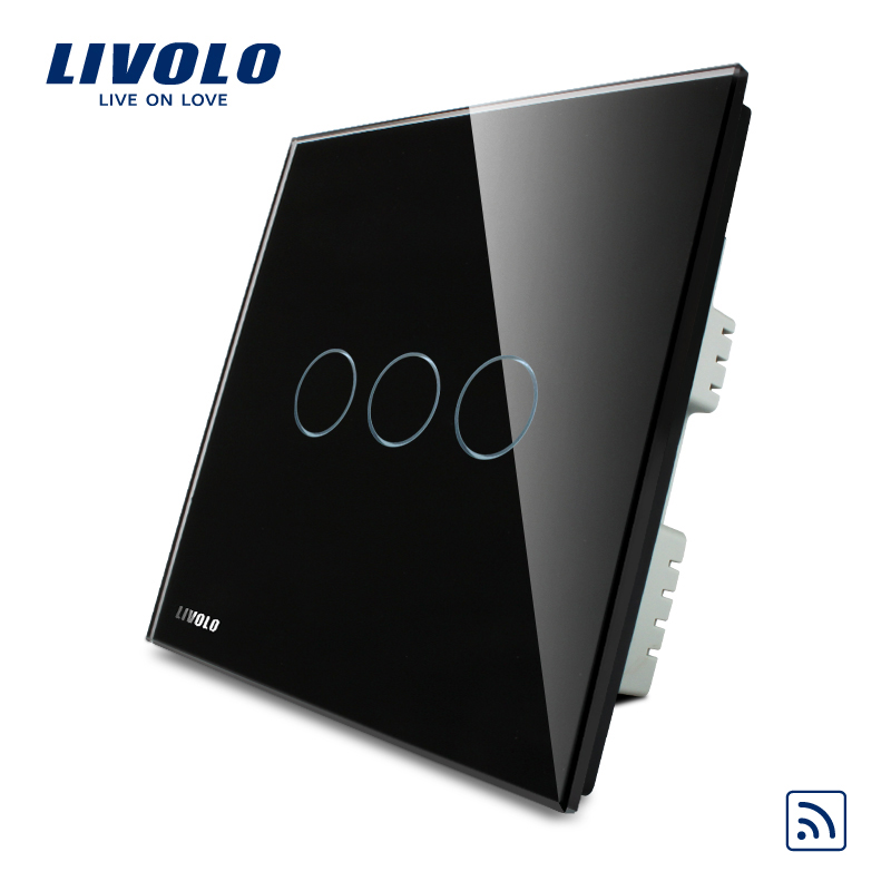 Livolo Black Pearl Crystal Glass Panel VL-C303R-62 Wireless Remote Controlled Electrical Switch 3 Gangs 1 Way Home Light Switch