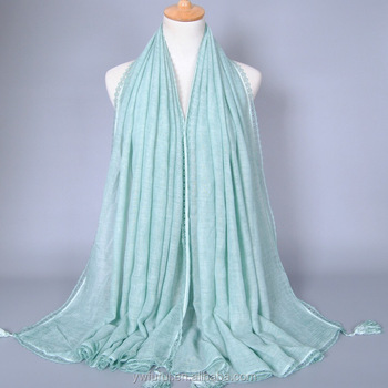Tie-Dyed Scarf Plain Lace Sew Solid Color Hijab Tassel Scarves Cotton Luxury Style Muslim Long Shawl