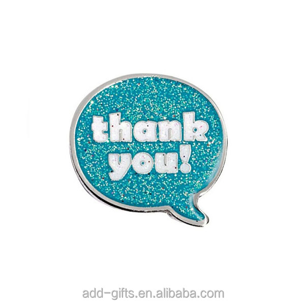 blue glitter soft enamel thank you metal lapel pin badge emblem making supplies